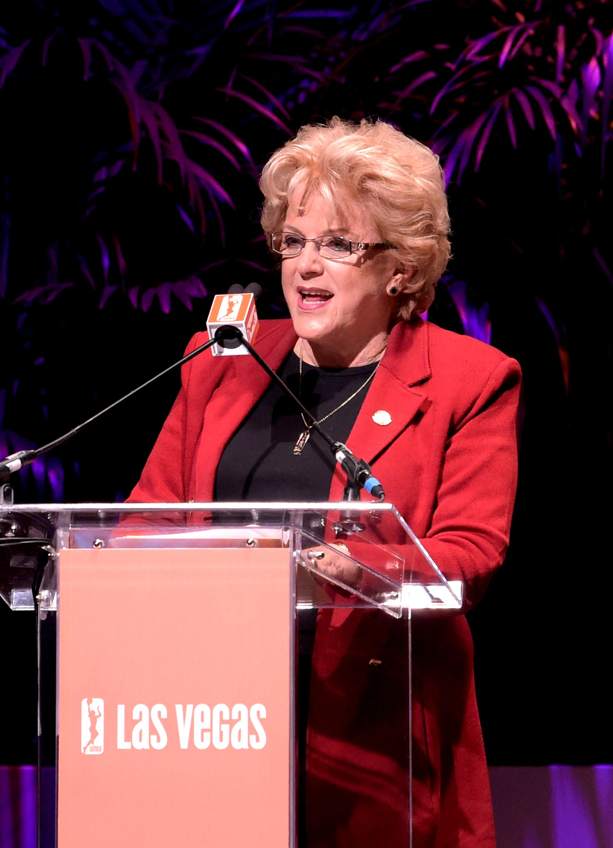 Carolyn G. Goodman Mayor of Las Vegas speaking at the press conference announcing the WNBA Las Vegas Aces as the newest professional sports franchise in Las Vegas at Mandalay Bay. Monday, December 11, 2017. CREDIT: Glenn Pinkerton/Las Vegas News Bureau