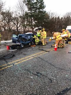 Police say the icy roads may have been the cause of a six-car crash on Tittabawassee Road in Saginaw Township. (Photo courtesy of Saginaw Township Police Department)