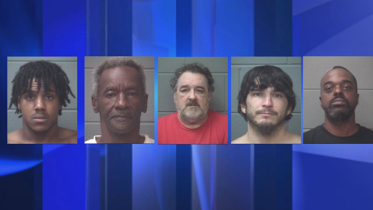 From left to right: Jourden Tairee Shepard, Grover Randolph Spicer, Harold Thomas Tanner, Dusty Lee Walls and David Williams Jr. (Onslow County Sheriff's Office photos)
