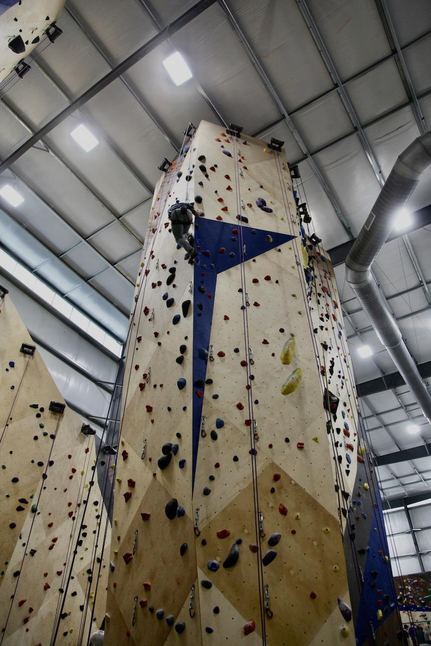 Surrounded by climbing walls, the central monolith in Climb Time stands 45-feet tall. Each face of the monolith offers climbing routes that are rated by level of difficulty. A 5.4 climb is generally quite easy while anything over 5.10 is considered expert. / Image: Chez Chesak // Published: 2.1.20