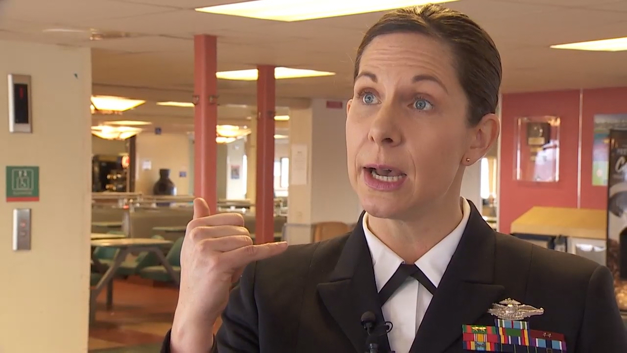 Navy nurse Erika Schilling was honored Thursday, Jan. 17, 2018, for efforts to save a man's life on the MV Spokane. She performed CPR for 14 minutes on a man whose heart had stopped. (Photo: KOMO News)