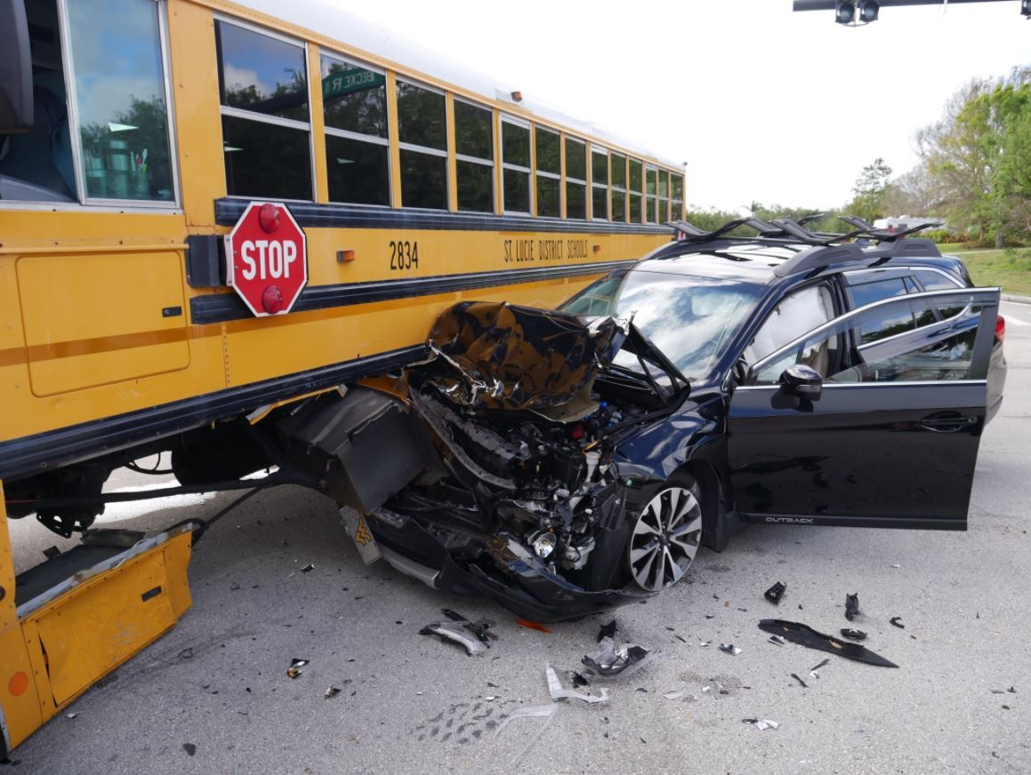 A school bus and an SUV collided in Port St. Lucie. (PSL Police)
