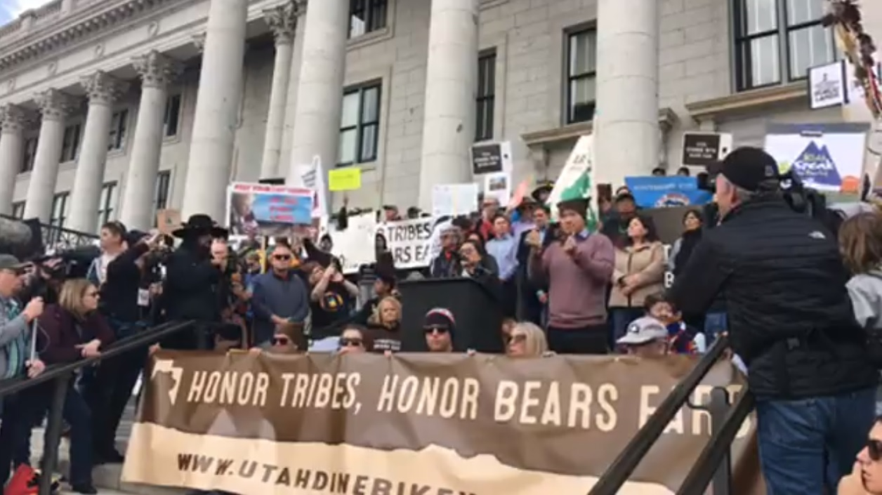 Protestors rallied in Salt Lake City on Saturday, December 2, 2017 to stop President Donald Trump's plan to cut national monuments in Utah. (Credit: KUTV)