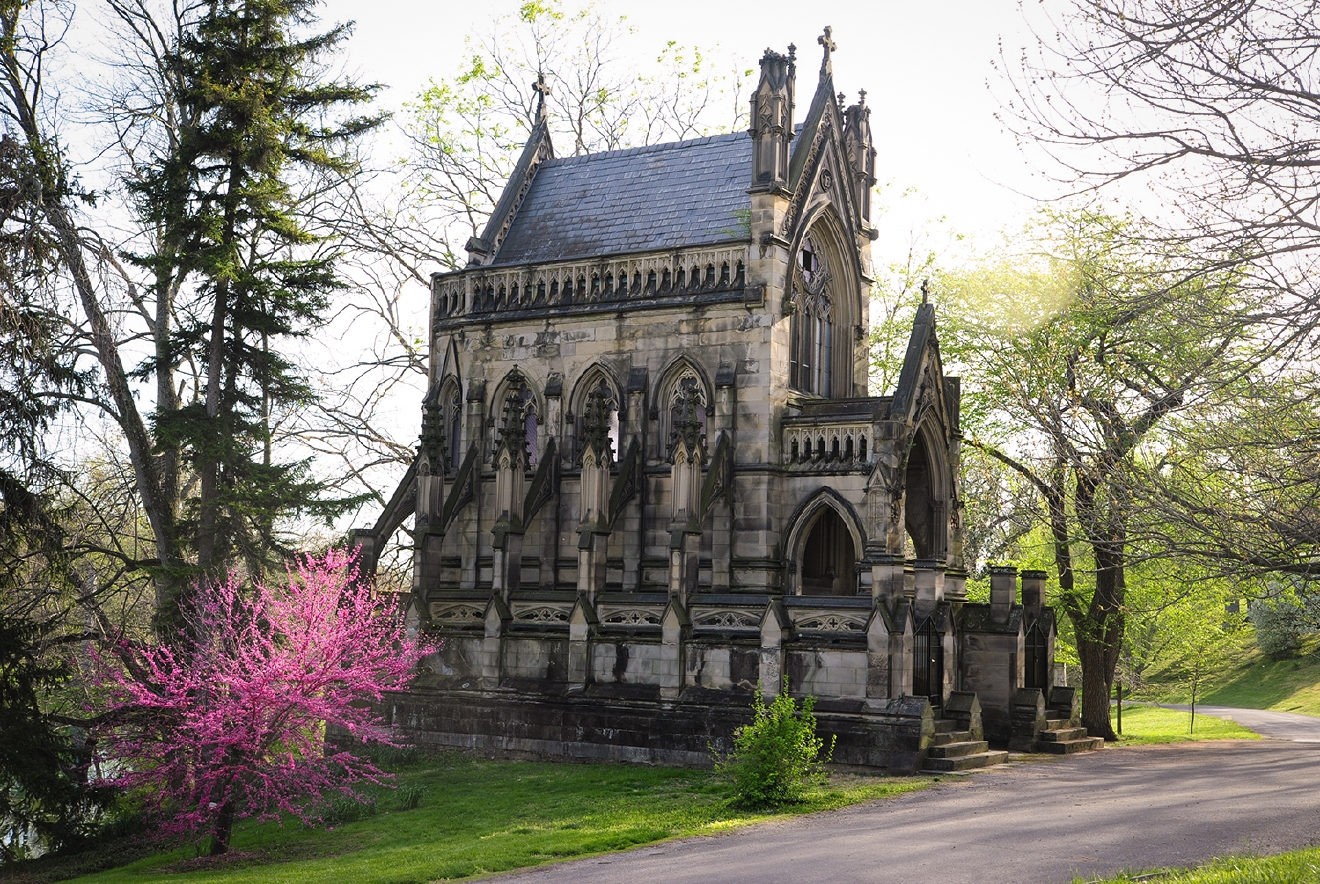 This Gothic Revival mausoleum owned by the Dexter family was built in 1866 and features flying buttresses, a chapel, and a marble interior. / Image: Melissa Doss Sliney
