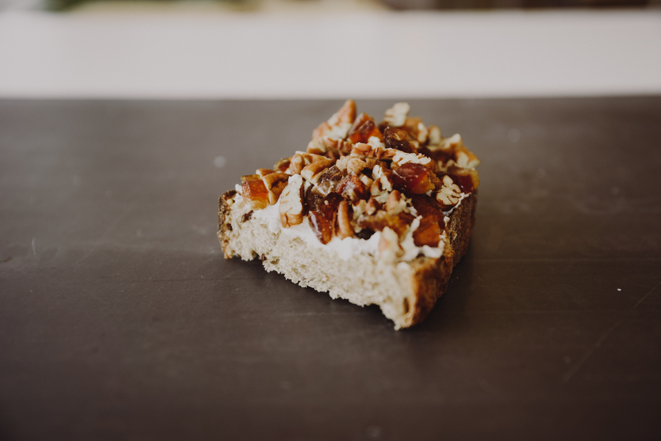 Organic ricotta cheese topped with dates and pecans / Image: Brianna Long // Published 7.30.18