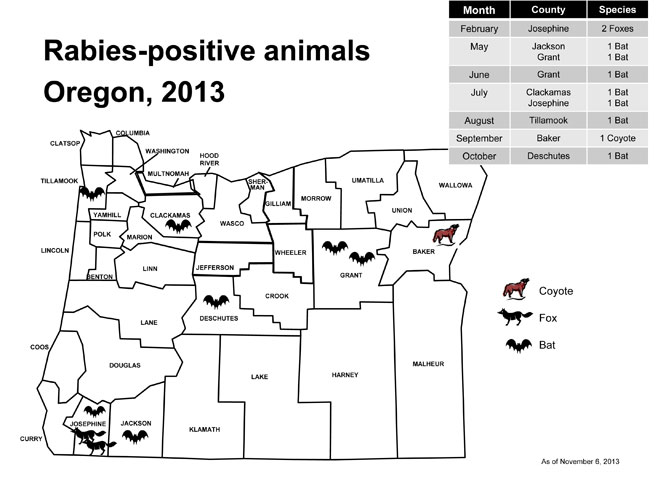 Oregon data on rabies cases