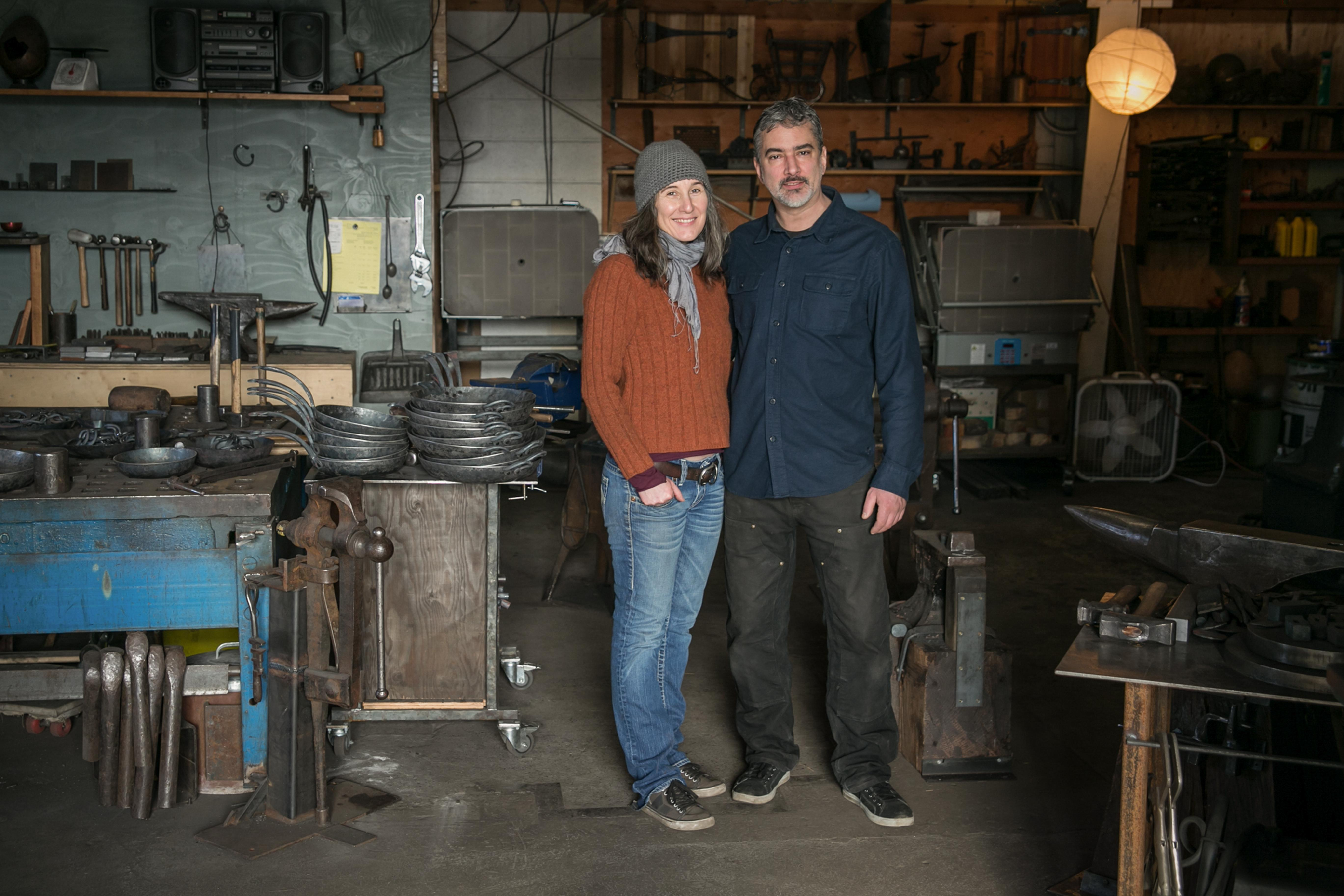Caryn Badgett and Patrick Maher (Image: KLDstudio for Blu Skillet Ironware)