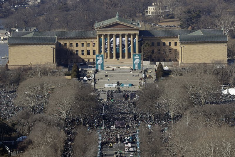 <p>A crowd gathers in front of the Philadelphia Museum of Art during the Philadelphia Eagles NFL football team Super Bowl victory parade Thursday, Feb. 8, 2018, in Philadelphia. The Eagles beat the New England Patriots 41-33 in Super Bowl 52. (AP Photo/Matt Slocum)</p>