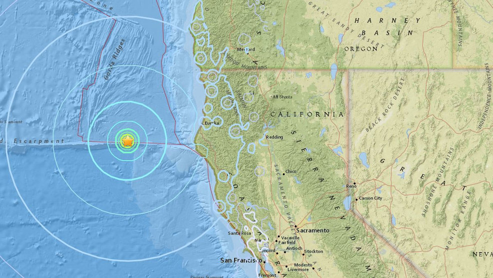 58 magnitude quake strikes 100 miles off Northern California