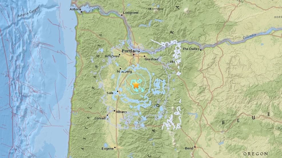 40 earthquake hits outside Scotts Mills east of Woodburn and Salem