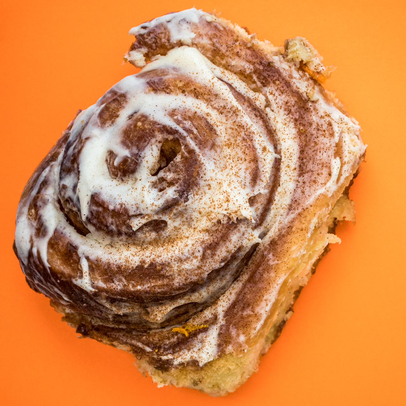 A cinnamon roll from{ }Brown Bear Bakery / Image: Catherine Viox{ }// Published: 1.4.20
