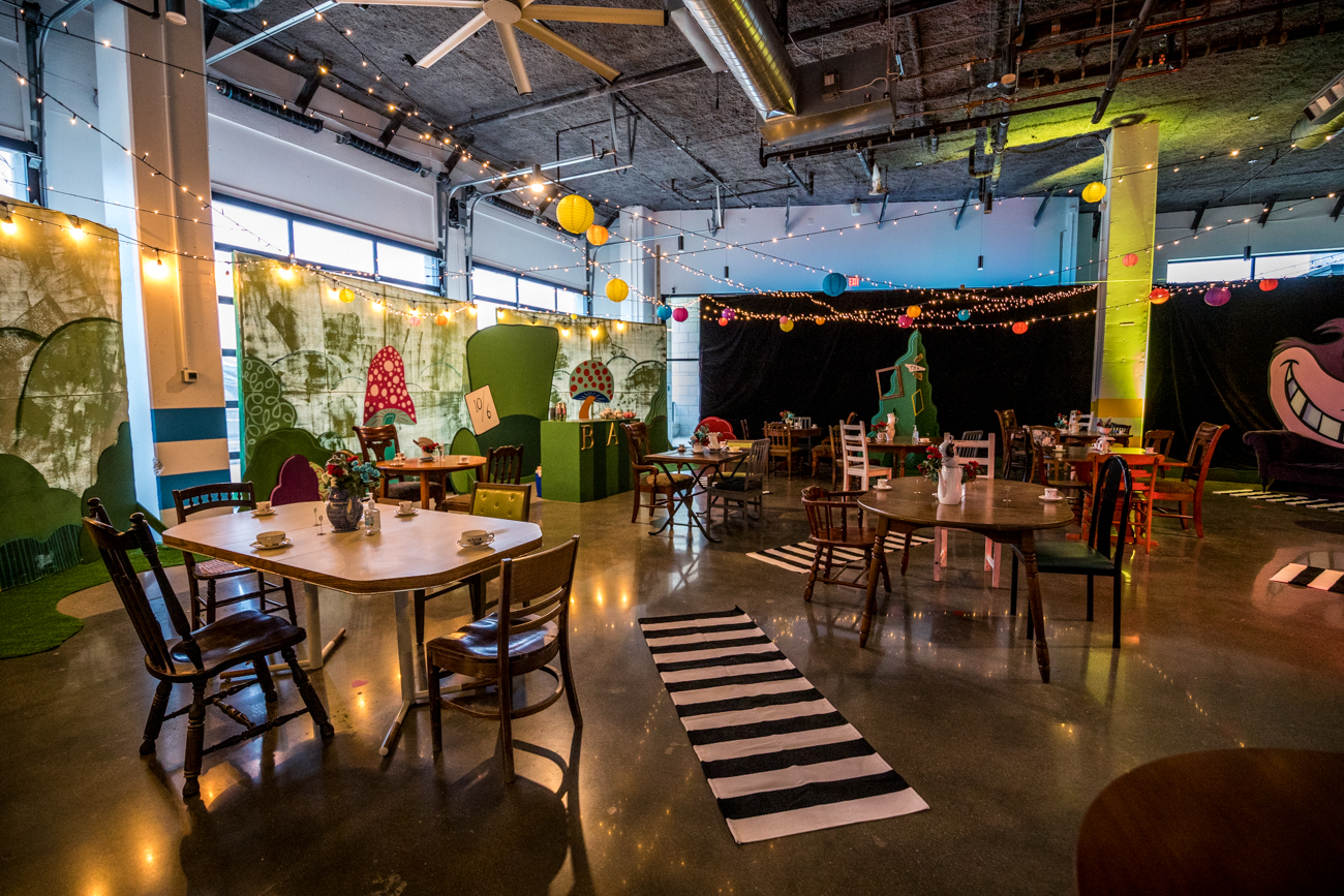 Sample Space is the venue hosting the experience. It's a versatile, 6,900-square-foot rental space that can accommodate nearly any occasion, when it isn't set up as a Wonderland-themed tea party, of course. / Image: Catherine Viox // Published: 1.22.21