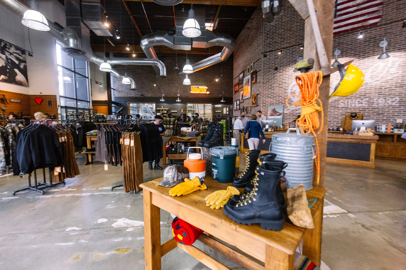 Danner Factory Store  Located at 12021 NE Airport Way, Portland, OR 97230, the Danner Factory Store is the perfect place to stop while in Portland. Not only can you find some of the best boots the world at factory seconds & discontinued style pricing, but you also get to take advantage of getting them tax-free! (Image: Joshua Lewis / Seattle Refined)