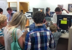 Same-sex couples apply for marriage licenses at the Brown County Clerk's Office in Green Bay, June 9, 2014. (WLUK/Eric Peterson)