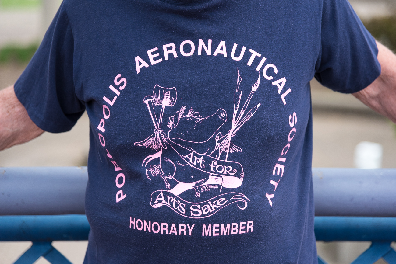 "This shirt was given to the crew back in '88. It says ""Porkopolis Aeronautical Society."" The design of the flying pig was drawn by Cincinnati artist Jim Borgman. / Image: Phil Armstrong, Cincinnati Refined // Published: 5.15.18"