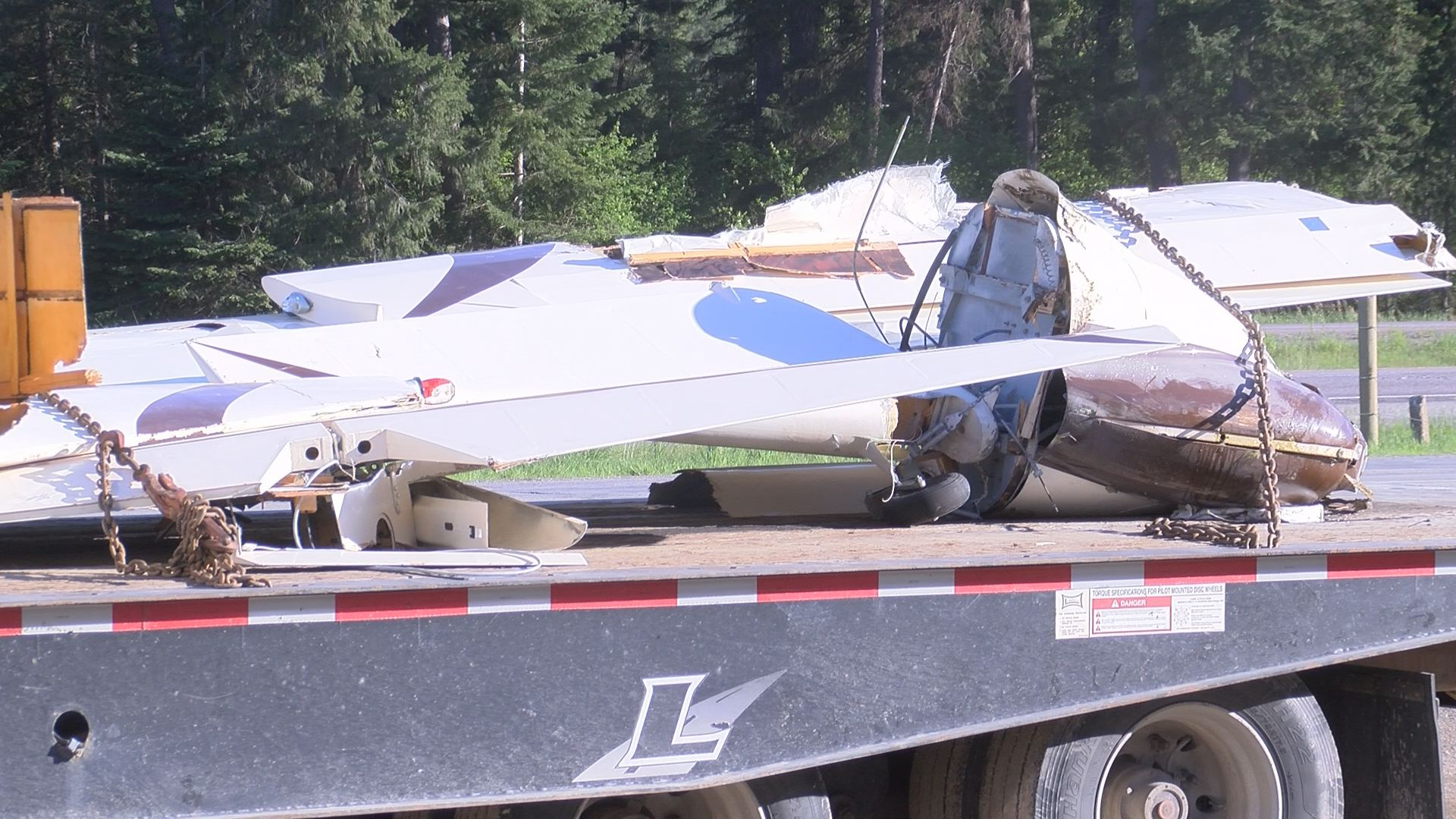 Remnants of the crashed plane on Interstate 90