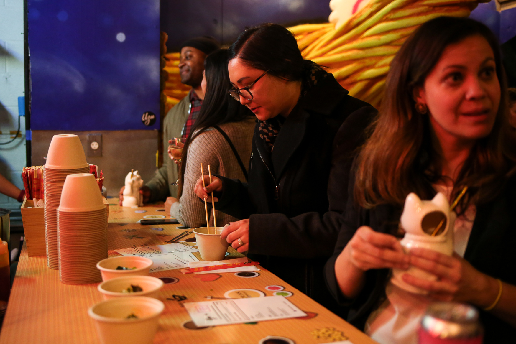 The Cherry Blossom Pop-up Bar is re-opening to the public on February 28th. Just like years past, the decor is focused on thousands of artificial blooms that line the walls and ceilings. However, the pop-up bar will also feature a ramen room with larger-than-life noodle decor as well as pork and vegan ramen options from Uzu Ramen. The pop-up bar at 1834 7th Street NW will stay open until April 21. (Amanda Andrade-Rhoades/DC Refined)