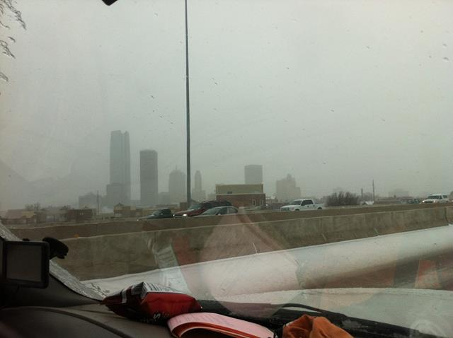 At 7:00 AM Friday, this was the view of downtown Oklahoma City.