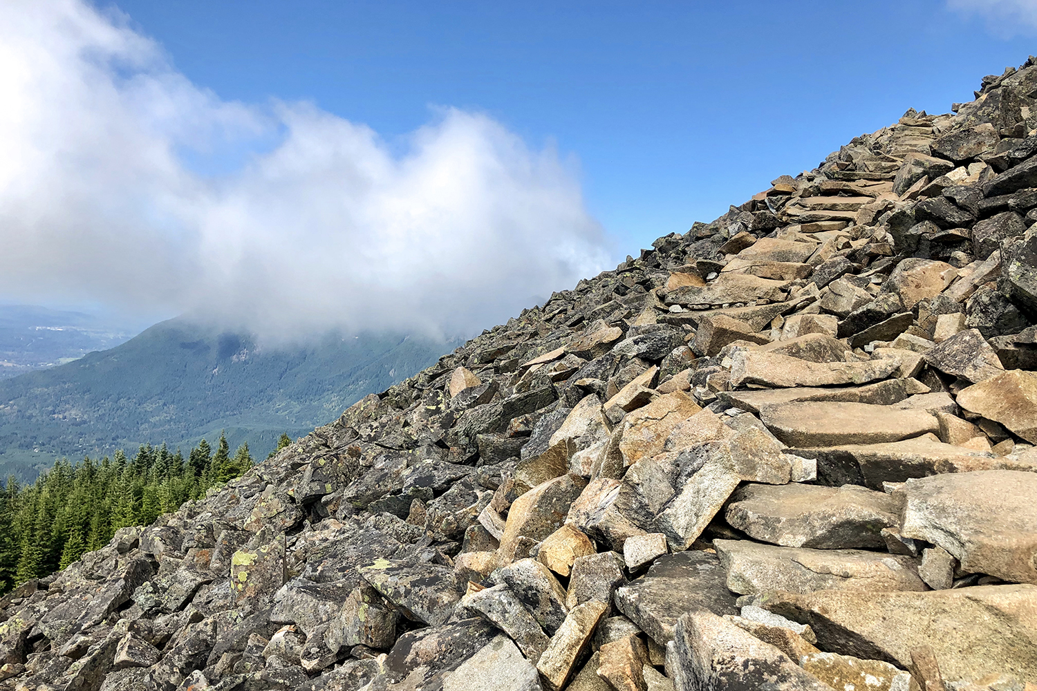 <p>The final stretch is 960 feet of elevation gain in a half-mile of boulder climbing. (Image:{&nbsp;}Rachael A. Jones / Seattle Refined){&nbsp;}</p>