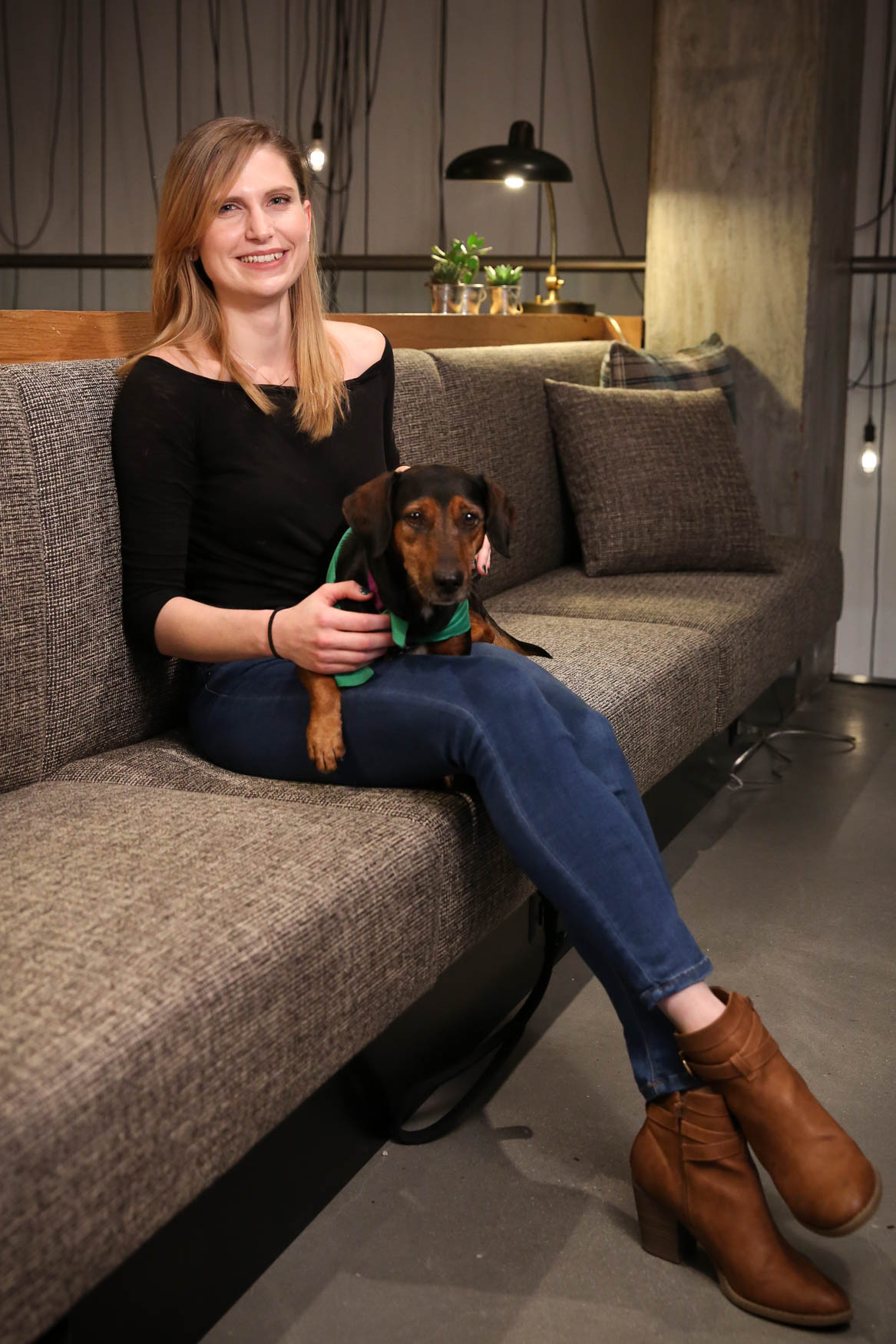 Meet Kirk and Sam, a 5-year-old Dachshund mix and a 27-year-old human respectively. Photo location: Moxy Washington, D.C. Downtown (Image: Amanda Andrade-Rhoades/ DC Refined)