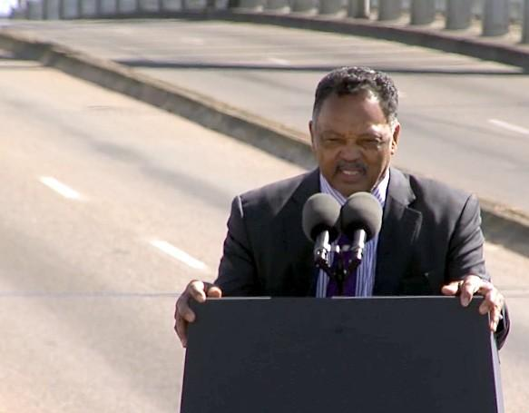 Reverend Jesse Jackson speaking at the Edmund Pettus Bridge Crossing Jubilee in Selma on Sunday, March 3, 2013.