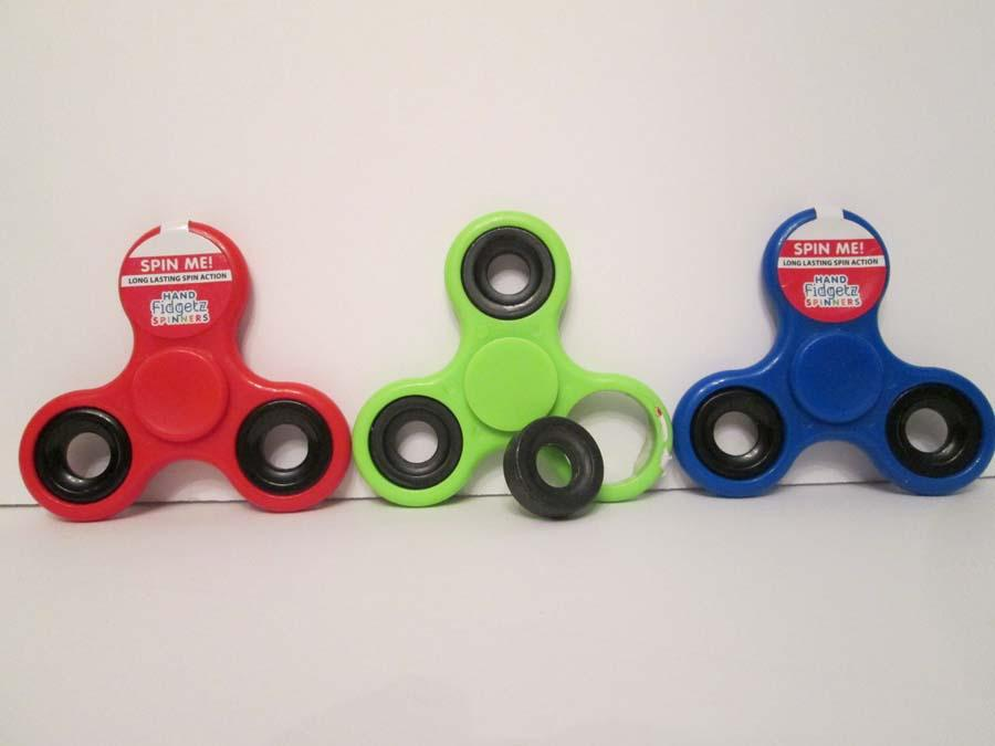 W.A.T.C.H. OUT! Fidget Spinners, like these bright-colored versions, can be found in retail toy aisles. These spinners remain popular with children of all ages, and some present potential small parts hazards. (Photo and caption provided by WATCH)