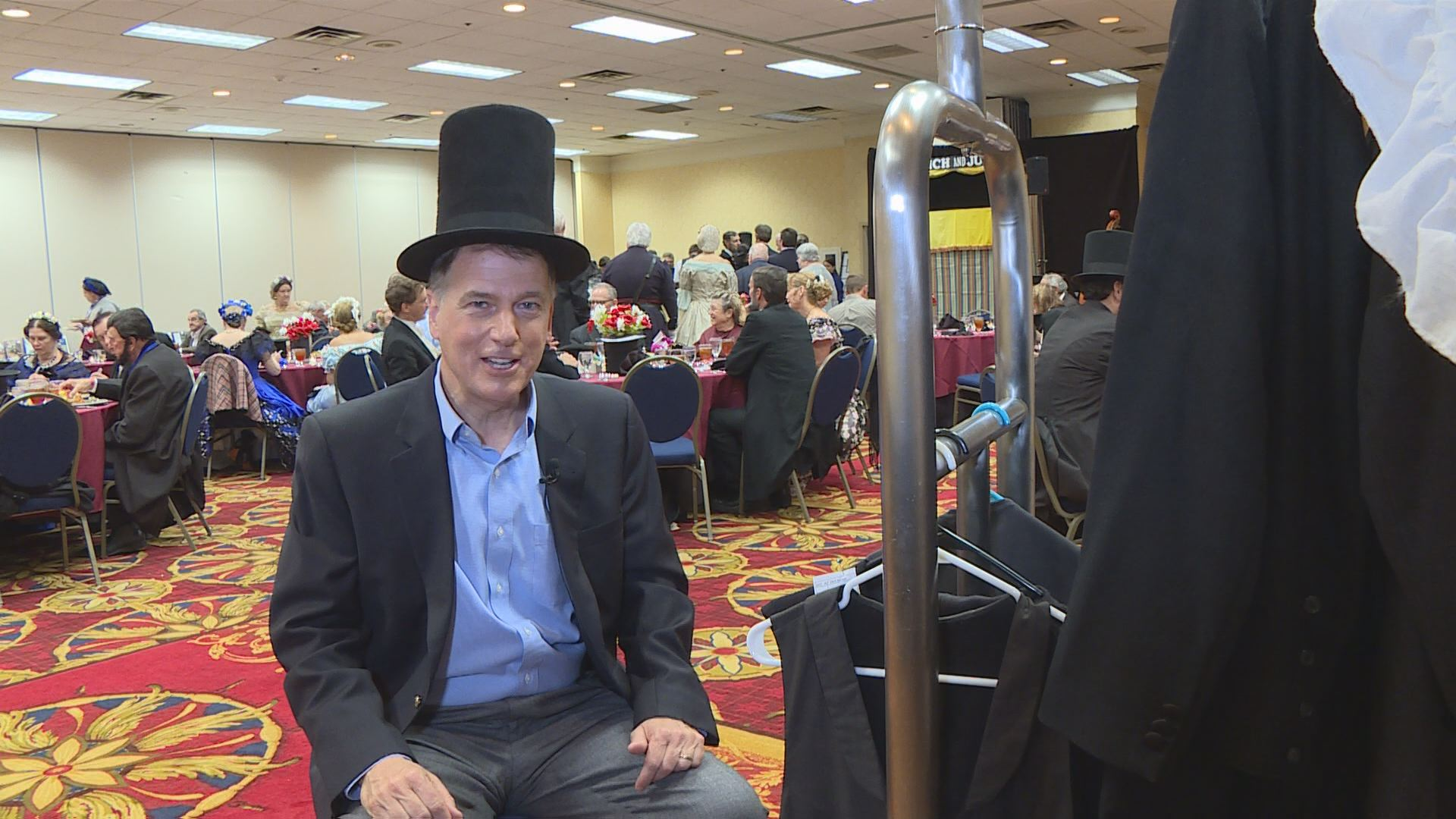 """Spirit of the Bluegrass"" reporter Marvin Bartlett tired on a stovepipe hat."
