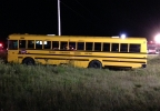 A school bus is seen at the scene of a crash with a car on Hwy. 29 near Pulaski, Sept. 2, 2014. (WLUK)