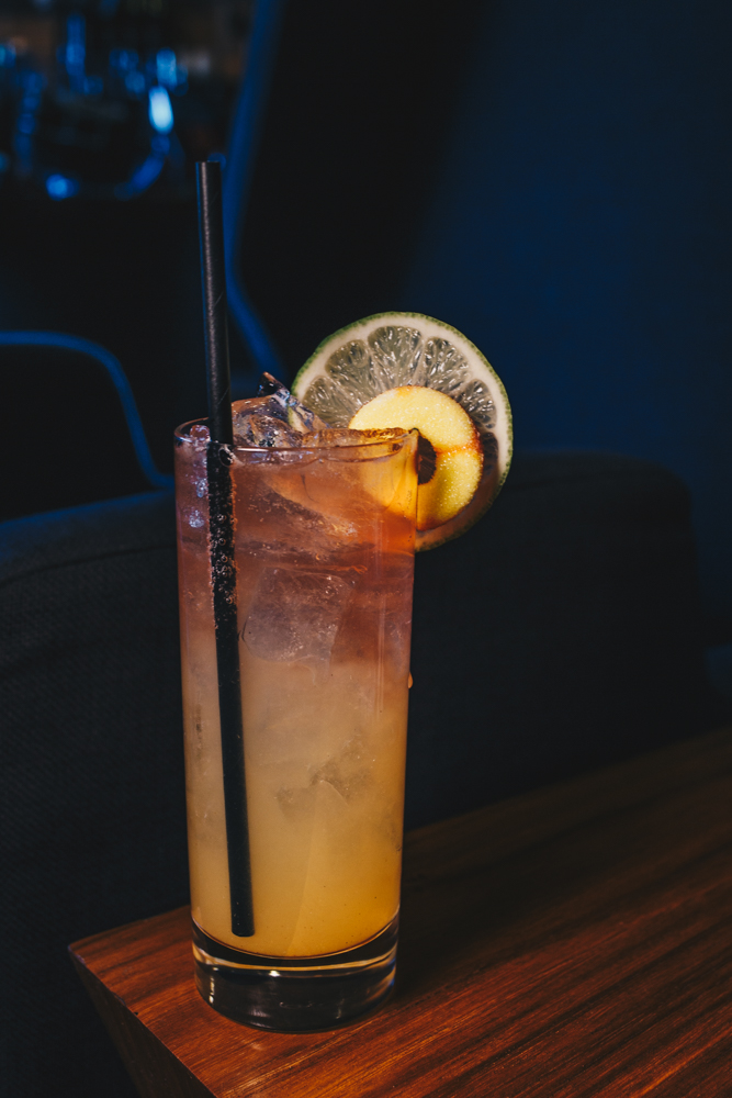 The Joker: New Riff Kentucky Wild Gin or Bourbon, peach puree, lime, grapefruit bitters, Rhinegeist Peach Dodo. and garnished with a Peachie-o gummy and a lime wheel / Image: Catherine Viox // Published: 3.25.19