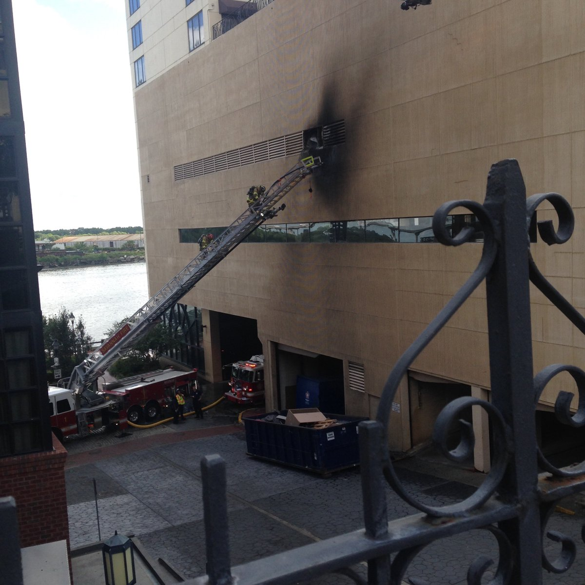 Fire broke out Monday morning at the Hyatt Hotel in Downtown Savannah (Credit: SCMPD)