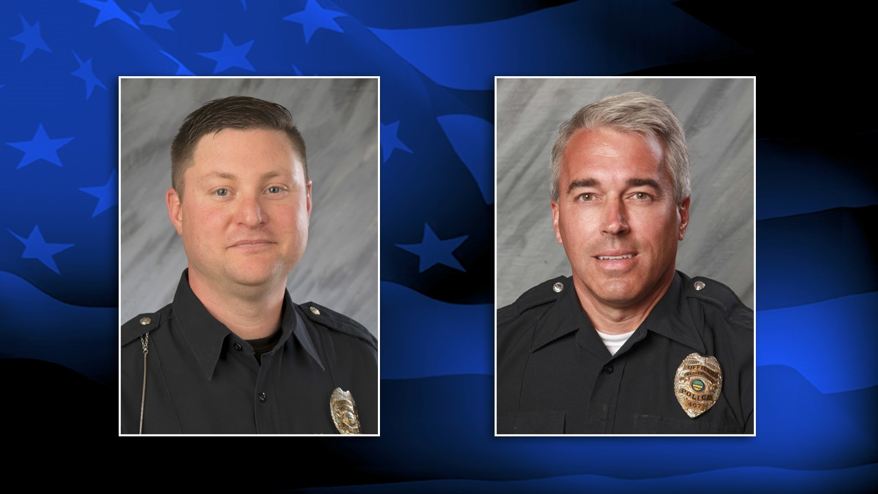 Westerville Police officers Eric Joering and Tony Morelli were both shot and killed responding to a 911 hang up at a suspected domestic incident Saturday (Courtesy: Westerville Police)<p></p>