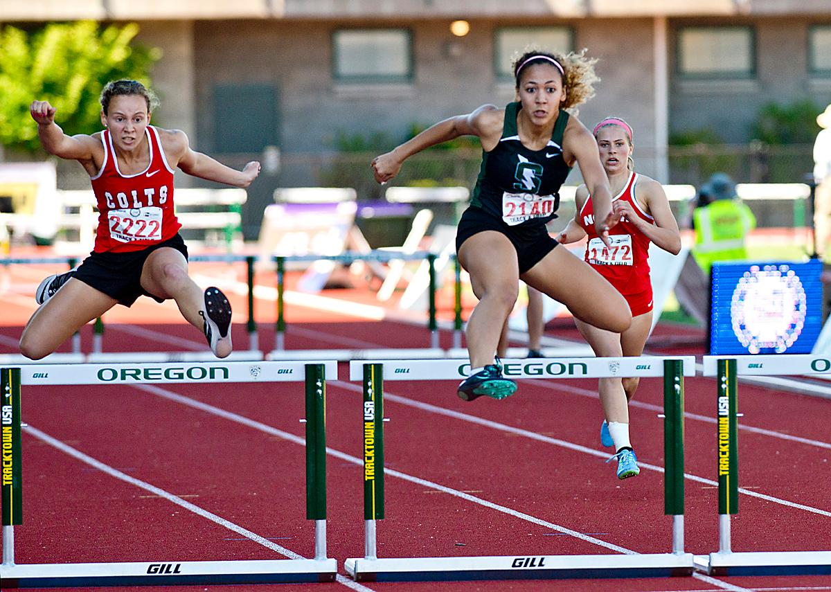 Tata Crosswhite from Thurston wins the 5A Girls 300 Low Hurdles with a time of 44.71 at the OSAA Championship at Hayward Field on Saturday. Photo by Dan Morrison, Oregon News Lab