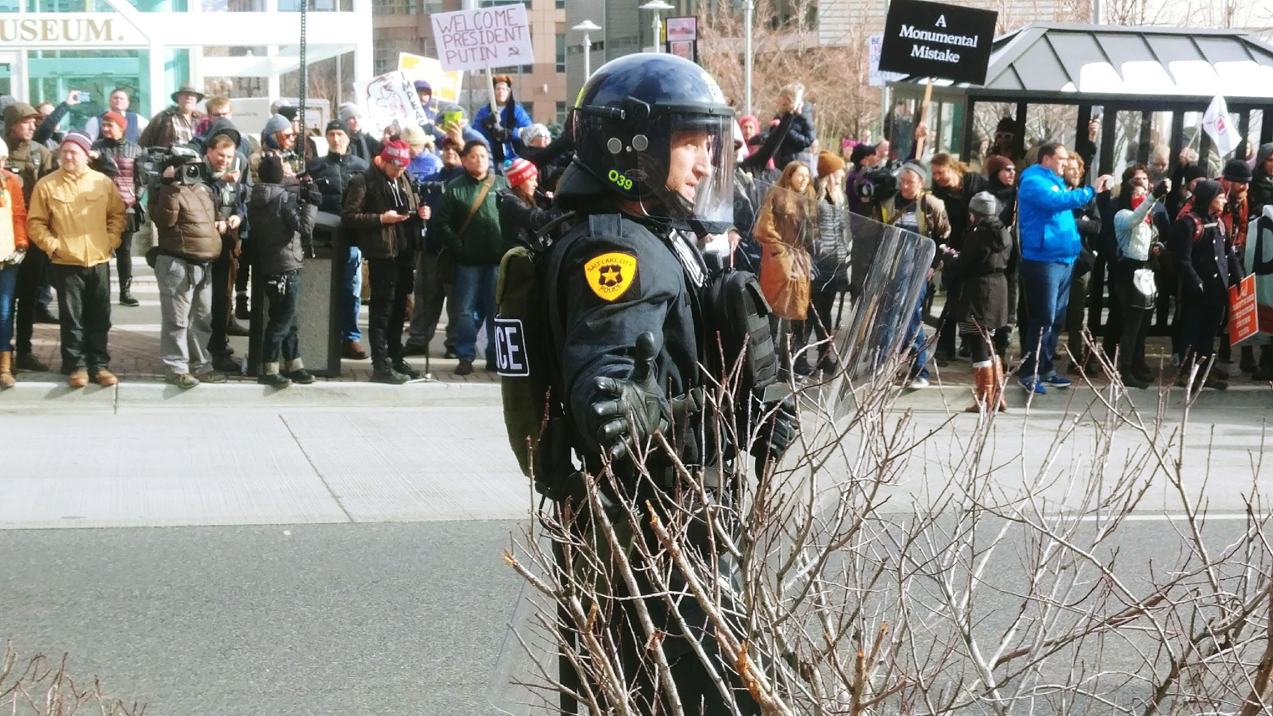 Police officer at Trump protest. (Photo: Brian Morris, KUTV)<p></p>