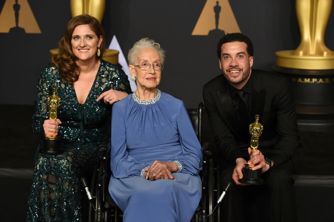 Caroline Waterlow, from left, Katherine Johnson, and Ezra Edelman pose in the press room at the Oscars on Sunday, Feb. 26, 2017, at the Dolby Theatre in Los Angeles. (Photo by Jordan Strauss/Invision/AP)