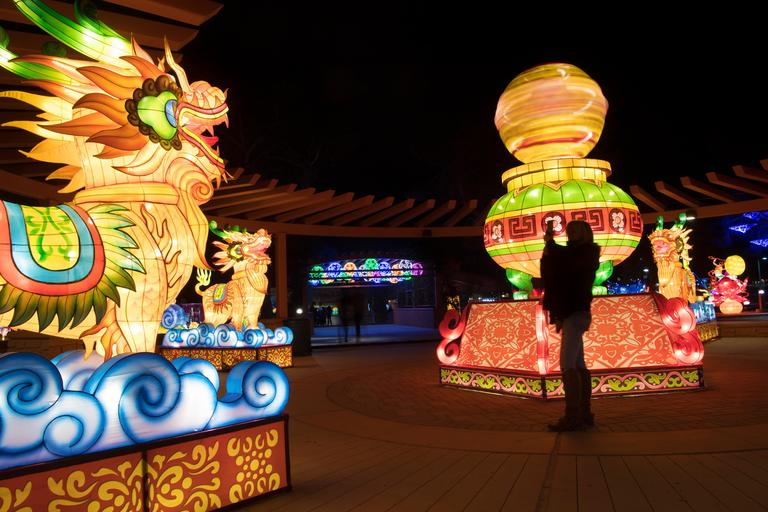 A woman takes a photo of lanterns on the opening night of the China Lights lantern festival Friday, January 19, 2018, at Craig Ranch Regional Park in North Las Vegas. The festival, which features nearly 50 silk and LED light displays comprised of over 1000 elements, runs through February 25th. CREDIT: Sam Morris/Las Vegas News Bureau