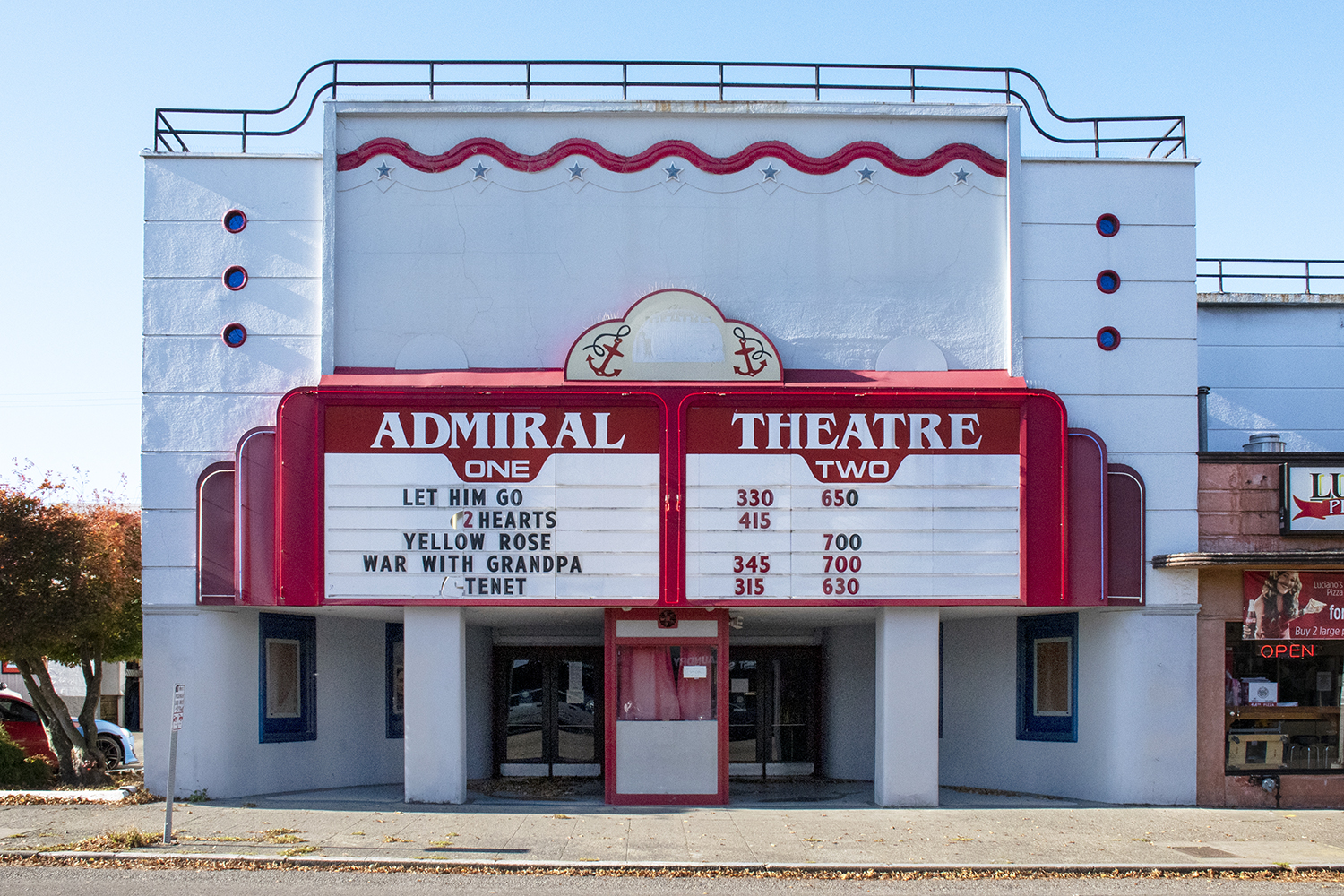 <p>Over in West Seattle, the Historic Admiral Theater offers patrons a newly preserved and renovated interior (now with four screens!) and a nostalgic marquee out front. Built in 1942, the nautical-themed landmark has since transformed from a second-run neighborhood theater to a cozy spot for new releases. (Image: Rachael Jones / Seattle Refined)</p>