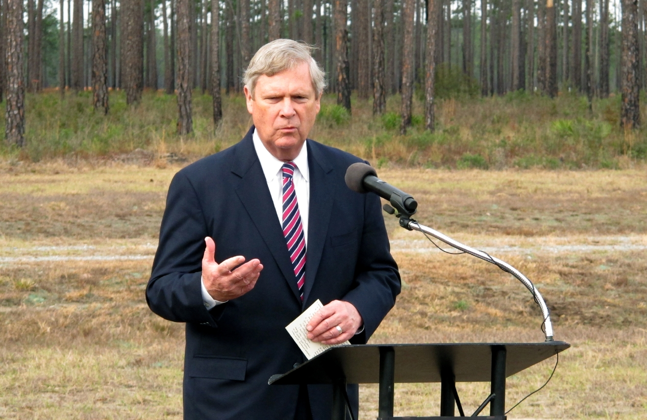 FILE - Agriculture Secretary Tom Vilsack speaks Friday, Feb. 12, 2016, during an event at Fort Stewart, Ga. Vilsack is possibly being considered as a potential running mate for Democratic presidential candidate Hillary Clinton. (AP Photo/Russ Bynum, file)