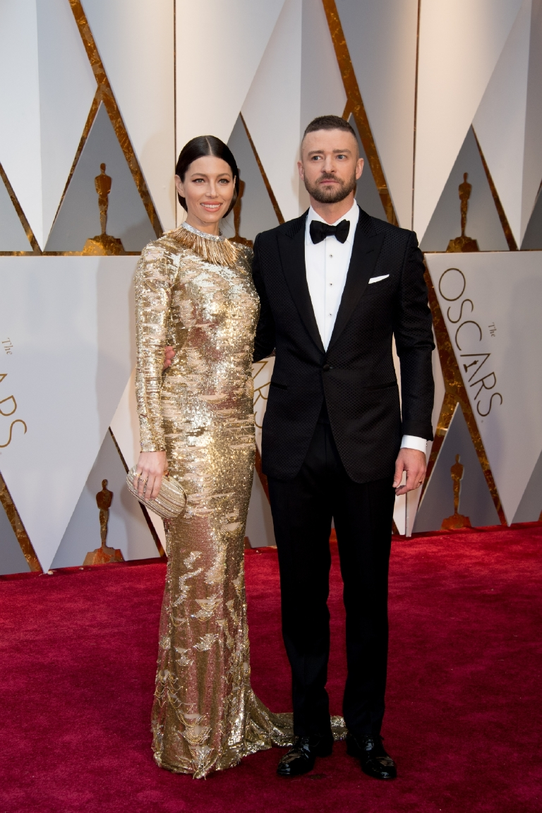 Jessica Biel and Oscar®-nominee Justin Timberlake arrive at The 89th Oscars® at the Dolby® Theatre in Hollywood, CA on Sunday, February 26, 2017. (A.M.P.A.S.)