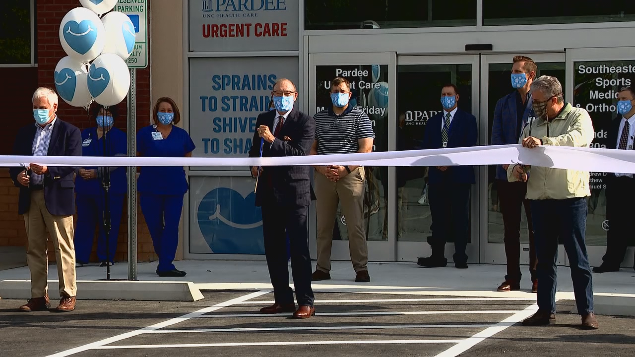 Wednesday, Sept. 16, 2020 – Pardee UNC Health Care hosted a ribbon-cutting ceremony to introduce three clinics at its newest location in Brevard. (Photo credit: WLOS Staff)