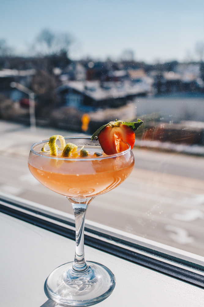 Strawberry Fields Forever: New Riff Wild Gin, strawberry rhubarb elixir, grapefruit bitters. and garnished with a twist of lime and a strawberry slice / Image: Catherine Viox // Published: 3.25.19
