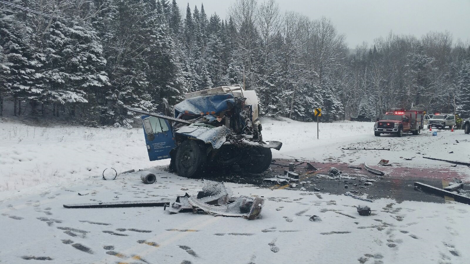 The crash happened around 9:30 a.m. Monday on Route 27 in Chain of Ponds Township, approximately 10 minutes south of the Canadian border. (Franklin County Sheriff Office)