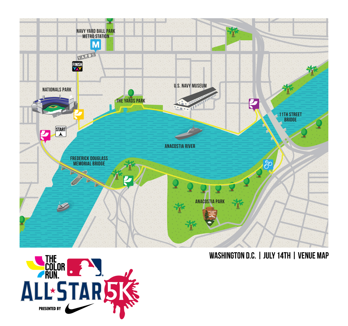The Color Run MLB All-Star 5K{ } is coming to D.C.! Soar new heights in the Hero Zone{ } and confront double the color in two brand-new Super Zones. (Image: Courtesy MLB)