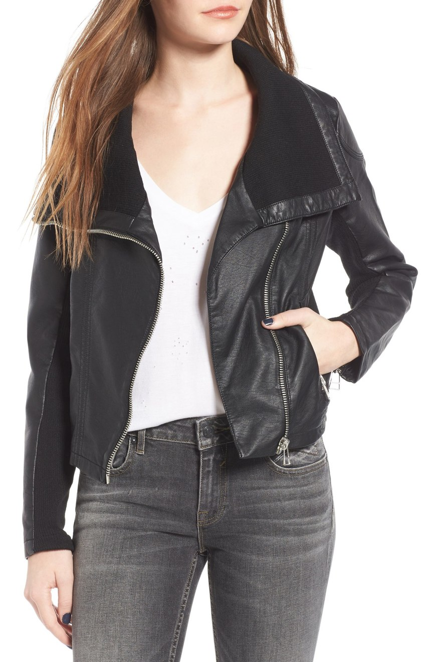 If you are not ready to splurge on a new leather coat, this 'Vienna Faux Leather Jacket' is a super cute affordable option to still rock the look! $65.00 (Image: Nordstrom)