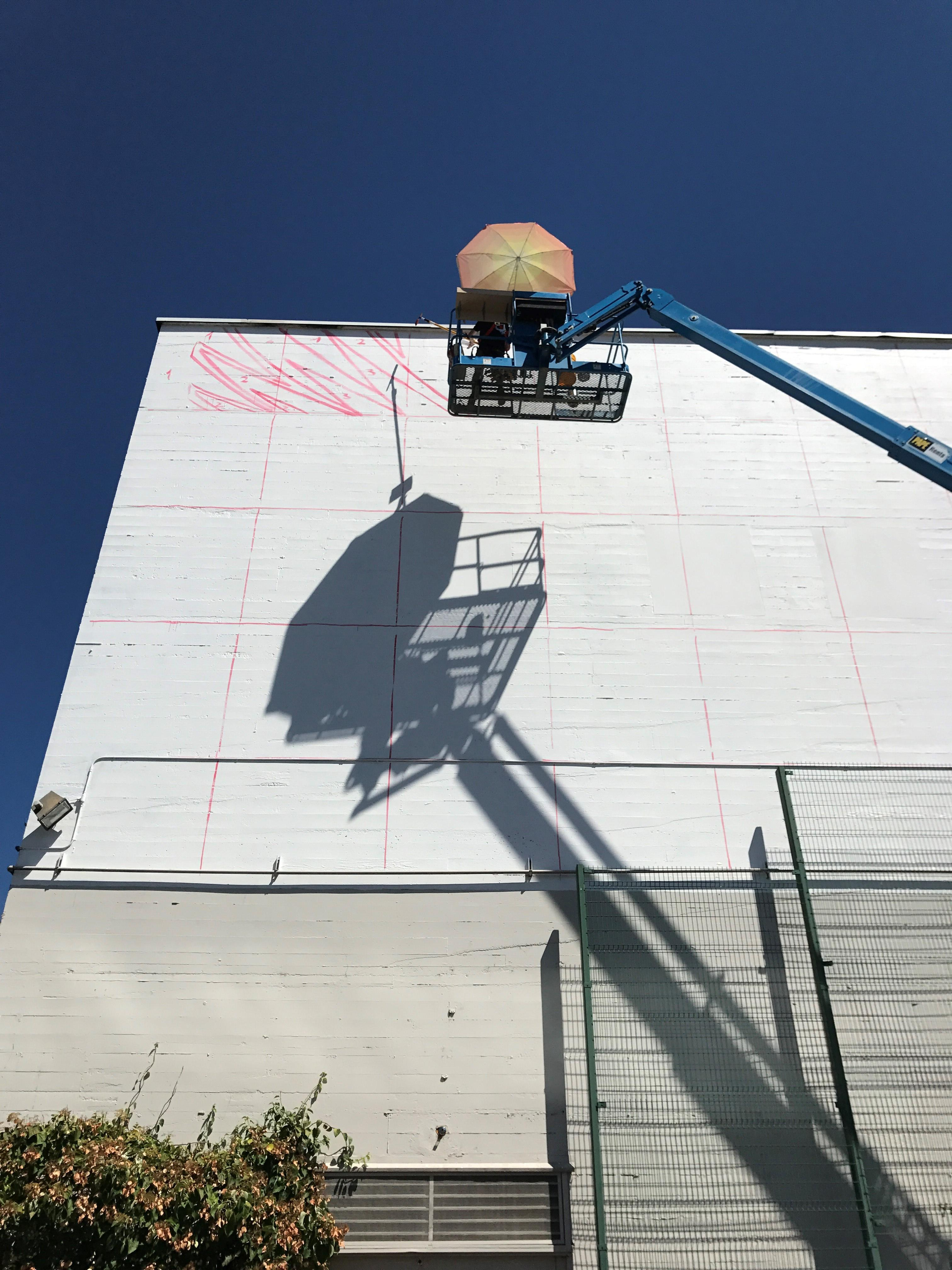 Franco Fasoli adding the outline for his mural on July 30th, 2017.  in Downtown Eugene.  (SBG/Clara Benitez)