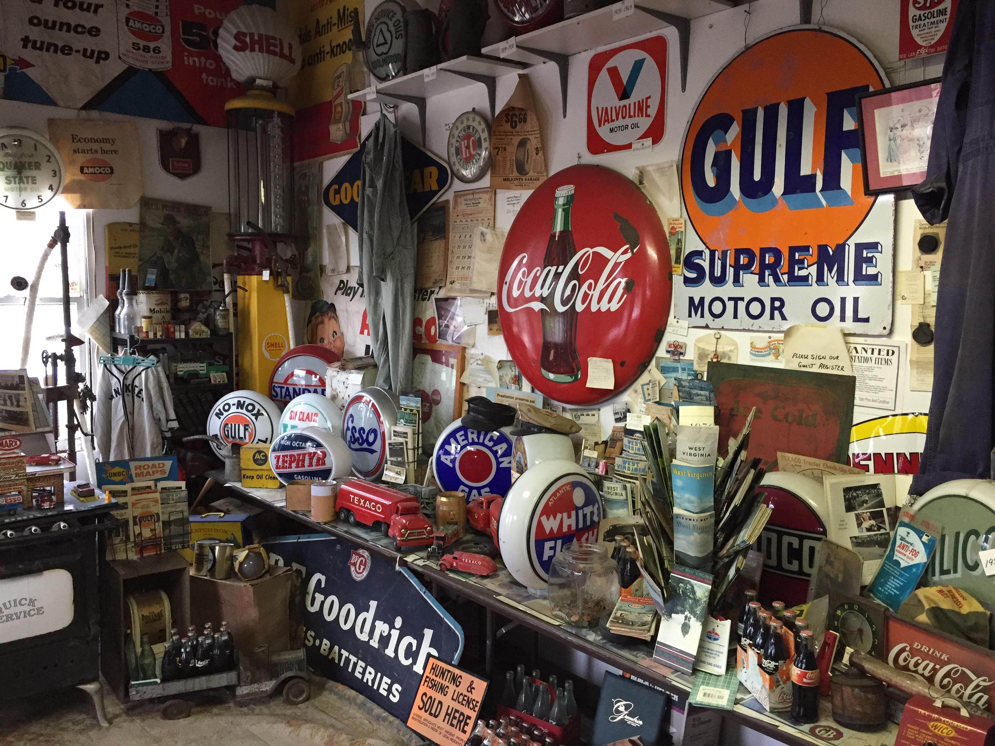 Auto memorabilia that Westbrook has collected fills the interior of the service station. (WCHS/WVAH)<p></p>
