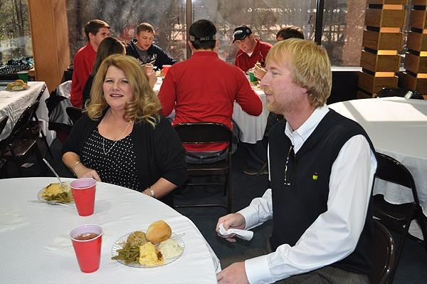 Anthony Hanner and Mary Jo Belmont sitting down for lunch