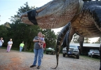 In this Saturday, Aug 16, 2014 photo, Mandy Stokes stands with her daughter Molly Kate Stokes next to a large alligator weighing 1011.5 pounds measuring 15-feet long is pictured in Thomaston, Ala. The alligator was caught in the Alabama River near Camden, Ala., by Mandy Stokes and family. (AP Photo/Al.com, Sharon Steinmann)