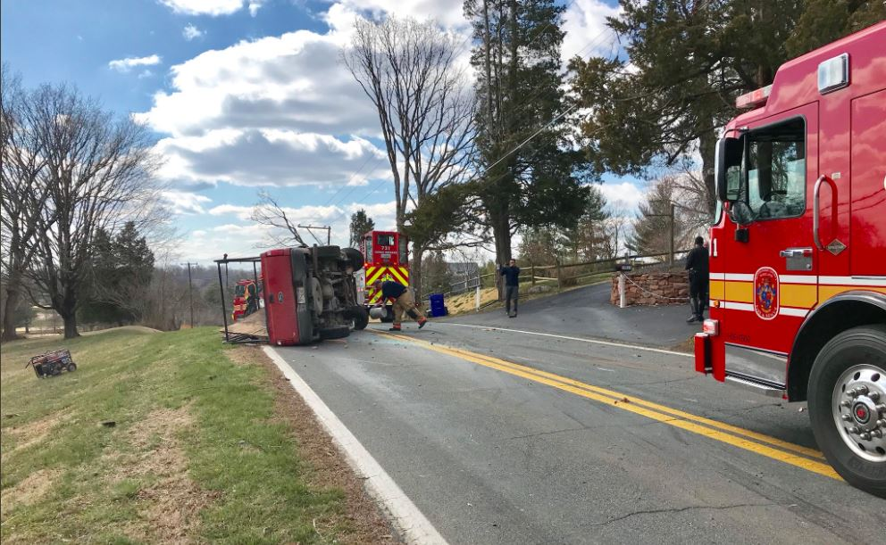 Overturned truck blocks traffic in Montgomery County (Photo:{ }Pete Piringer, Montgomery County Fire and Rescue Service)