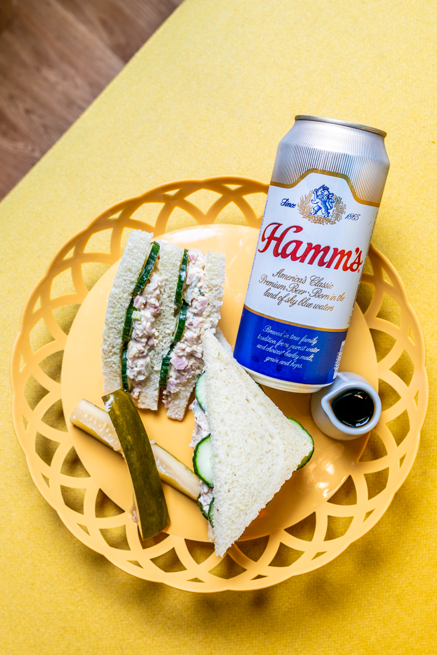 Home Plate Special: ham salad double-decker sandwich served with homemade pickles, a shot of Amaro, and a Hamm's Lager / Image: Amy Elisabeth Spasoff // Published: 9.9.19
