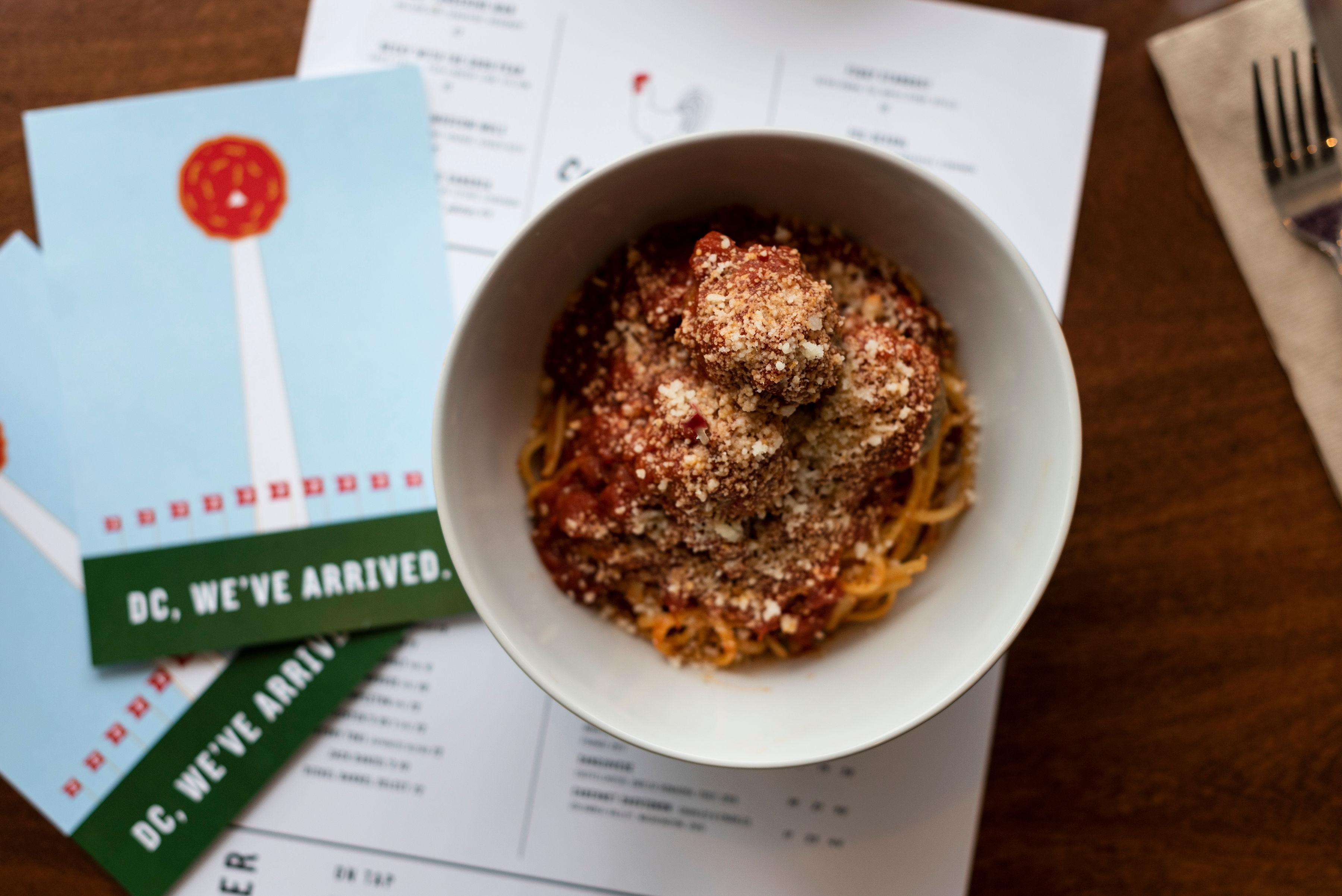 A bowl of meatballs and pasta from The Meatball Shop. (Image:{ } Liz Clayman)